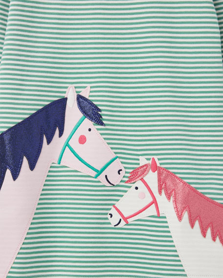 Joules Girl's Kaye Striped Horse Applique Dress, Size 2-6