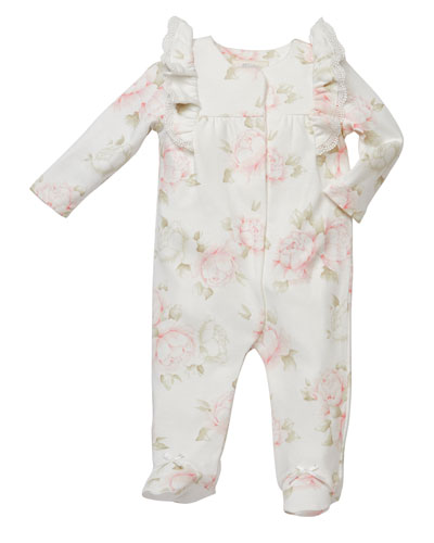 Ruffle-Shoulder Floral-Print Footed Playsuit  Size 3-9 Months