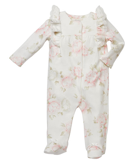 Miniclasix Ruffle-Shoulder Floral-Print Footed Playsuit, Size 3-9 Months