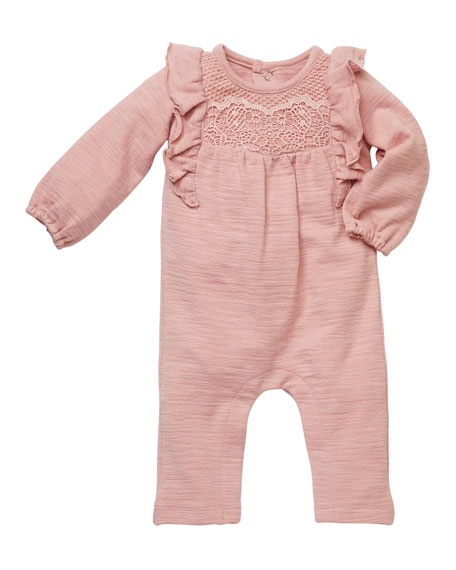 Miniclasix Lace Front Ruffled Playsuit, Size 3-9 Months