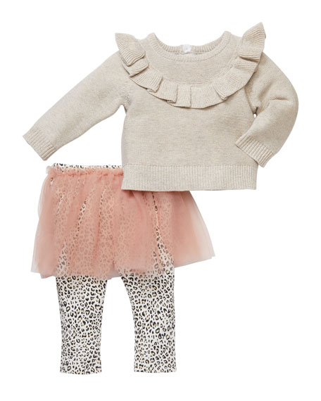 Miniclasix Ruffled Front Shimmer Sweater with Leopard-Print Tutu Leggings, Size 3-24 Months