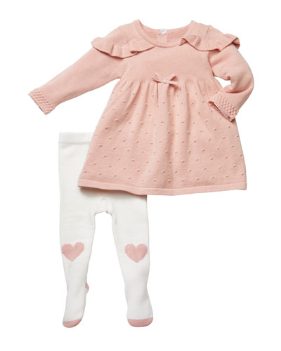 Ruffle-Shoulder Sweater Dress w/ Heart Tights  Size 3-9 Months