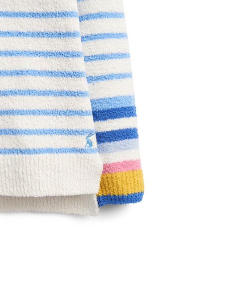 Joules Seaham Multi-Striped Fleece Sweater, Size 4-12