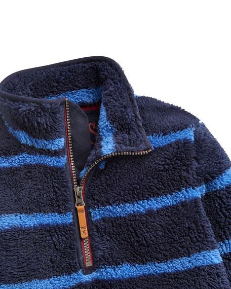 Joules Woozle Striped Fleece Quarter-Zip Pullover, Size 2-6
