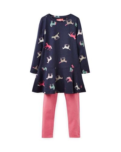 Iona Jersey Horse-Print Dress w/ Matching Leggings  Size 2-6
