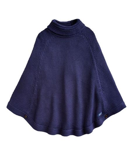 Joules Girl's Tess Knit Turtleneck Poncho, Size XS-L