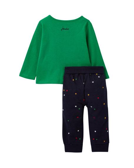 Joules Boy's Byron Animal Face Top w/ Star Print Pants, Size 3-24 Months