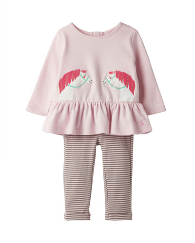 Girl's Olivia Striped Horse Applique Top w/ Striped Leggings  Size 3-24 Months