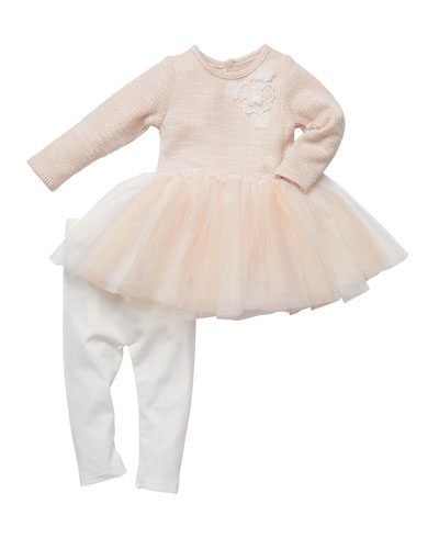 Floral-Embroidered Tutu Top w/ Ruched Leggings  Size 3-24 Months