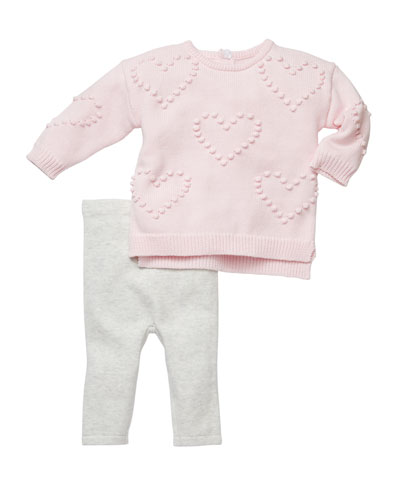 Heart Pompom Sweater w/ Leggings  Size 3-6 Months