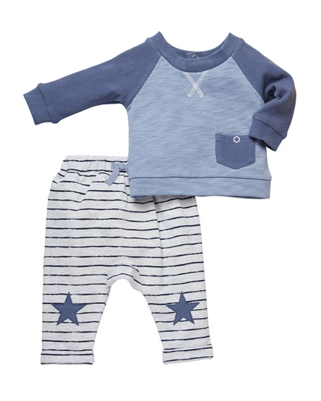 Miniclasix Two-Tone Tee w/ Striped Star-Patch Pants, Size 3-24 Months