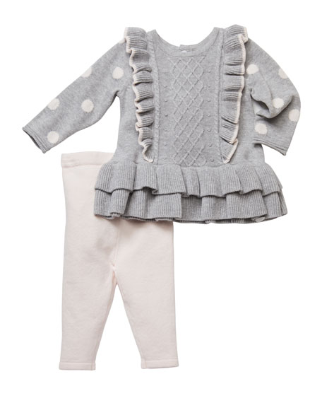 Miniclasix Ruffle Cable Knit Top w/ Leggings, Size 3-9 Months