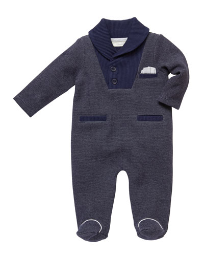 Shaw-Collar Footed Coverall  Size 3-9 Months