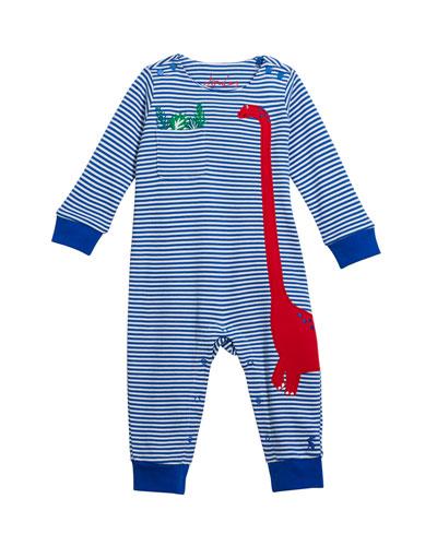 Boy's Fife Stripe Dinosaur Applique Coverall  Size 3-24 Months
