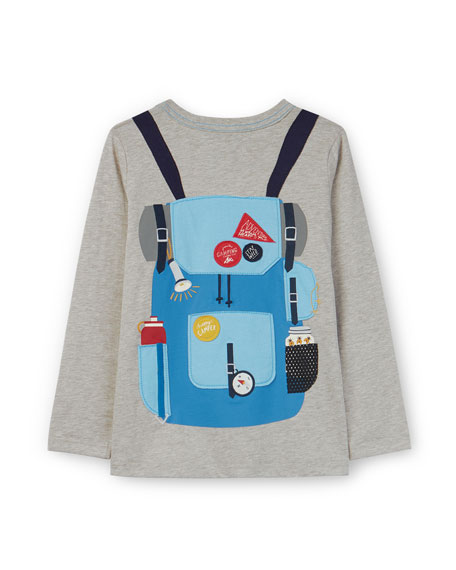 Joules Animate Trompe l'oeil Backpack Long-Sleeve Tee, Size 2-6