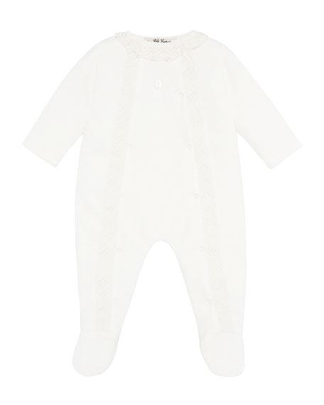 Pili Carrera Velour Lace Trim Footie Pajamas, Size 1-12 Months