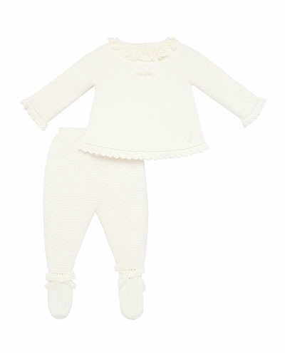 Lace Collar Sweater w/ Footed Leggings  Size 1-6 Months
