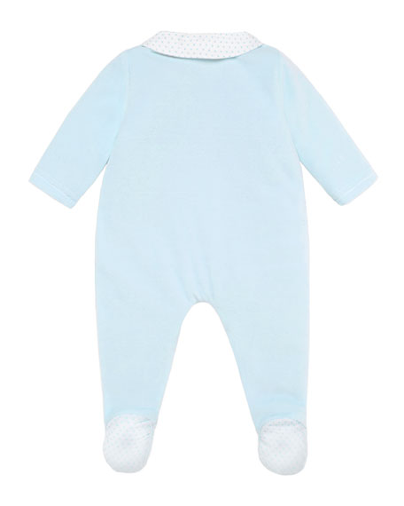 Pili Carrera Velour Bear Embroidered Footie Pajamas, Size 1-12 Months