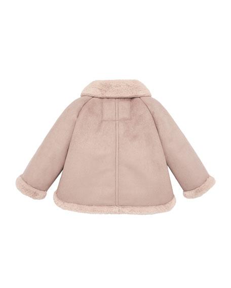Pili Carrera Girl's Button Front Jacket w/ Faux Shearling Trim, Size 2-6