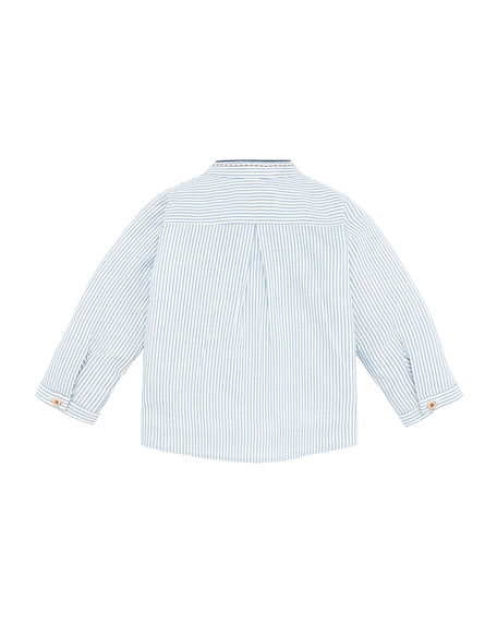 Pili Carrera Mandarin Collar Striped Shirt, Size 12M-3