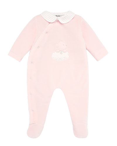 Velour Bear Embroidered Footie Pajamas  Size 1-12 Months