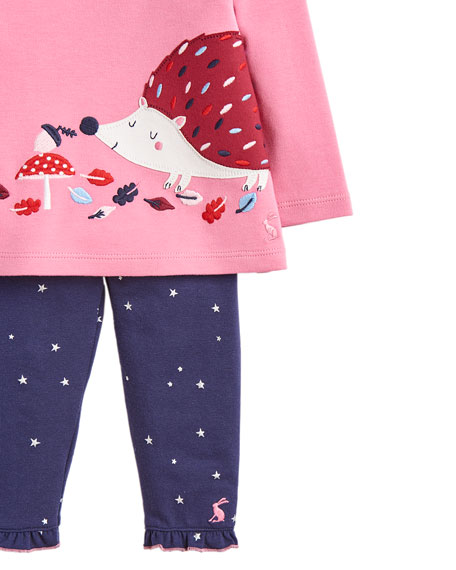 Joules Girl's Poppy Porcupine Top w/ Star Print Leggings, Size 3-24 Months