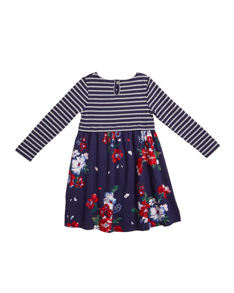 Joules Layla Striped & Floral Long-Sleeve Dress, Size 2-6