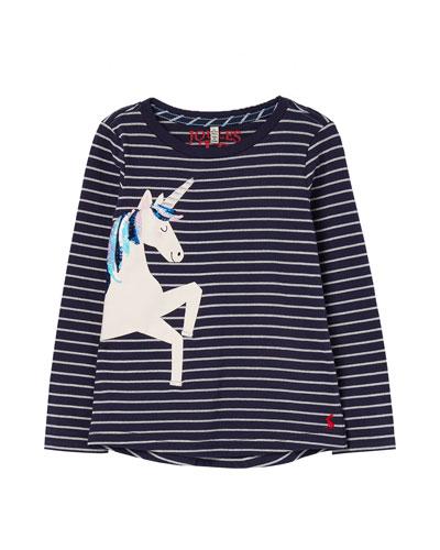 Girl's Ava Metallic Striped Top w/ Unicorn Applique  Size 2-12