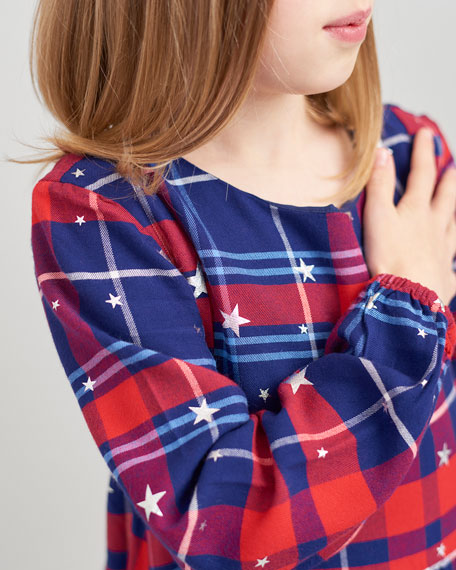 Joules Girl's Rowena Plaid Star Print Dress, Size 4-12