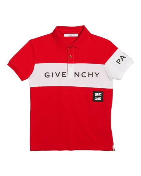 Givenchy Boy's Colorblock Logo Polo Shirt, Size 12-14
