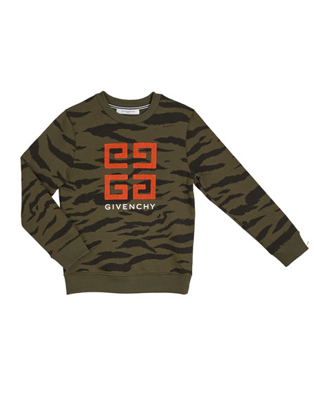 Givenchy Boy's 4-G Logo Camo Sweatshirt, Size 12-14