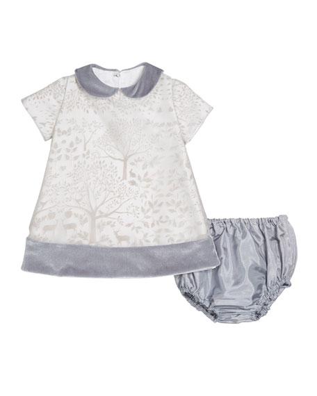 Isabel Garreton Winter Story Velvet-Trim Dress, Size 2T-4T