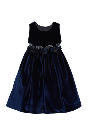 Isabel Garreton Sleeveless Velvet Dress With Rose Trim & Button-Back, Size 3T-8