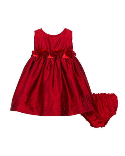 Sleeveless Silk Baby Dress with Rose Sash & Bloomers  Size 12-24 Months