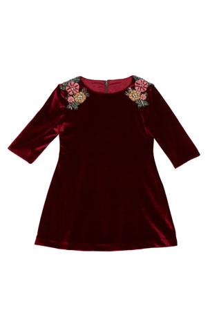 Isabel Garreton 3/4-Sleeve Beaded Velvet Dress, Burgundy, Size 4-6