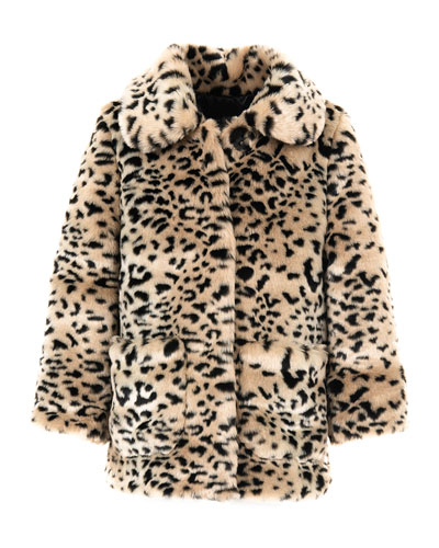 Kid's Cheetah-Print Faux-Fur Coat  Size XXS-L