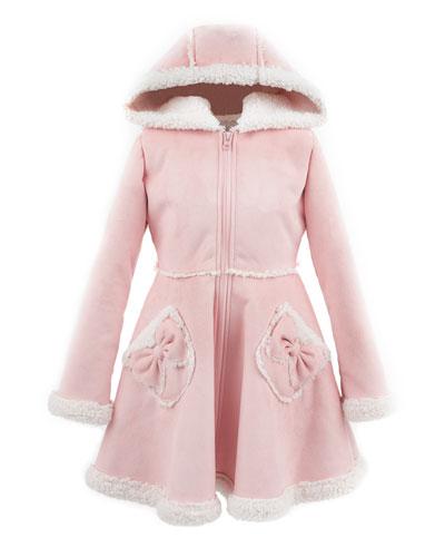 Kid's Faux Suede Hooded Princess Coat, Size XXS-L