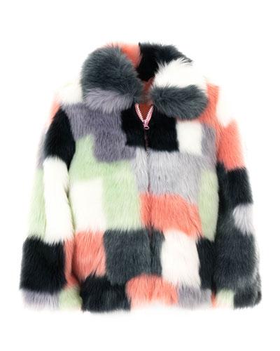 Kid's Faux-Fur Patchwork Coat  Size XXS-L