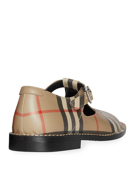 Burberry Mini Kipling Checked Leather Mary Janes, Toddler/Kids