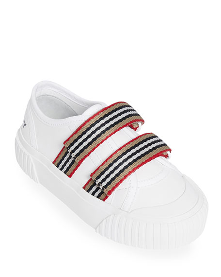 Burberry Ray Striped Grip-Strap Low-Top Sneakers, Toddler/Kids