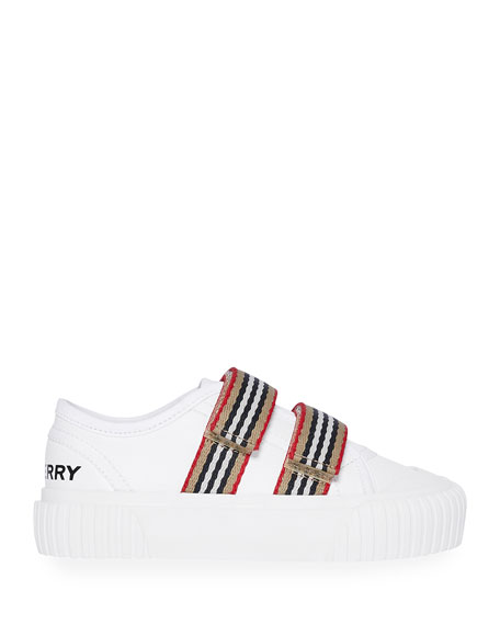 Burberry Ray Striped Grip-Strap Low-Top Sneakers, Baby/Toddler