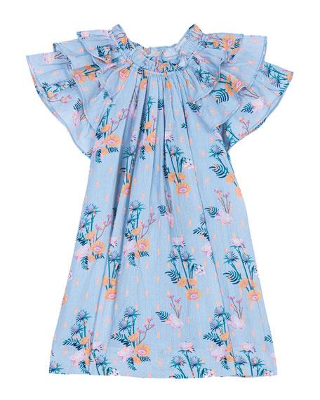 Velveteen Opal Frill Sleeve Floral Dress, Size 3-24 Months