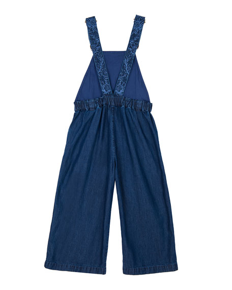 Velveteen Girl's Eliza Wide Leg Floral Embroidered Overalls, Size 8-12