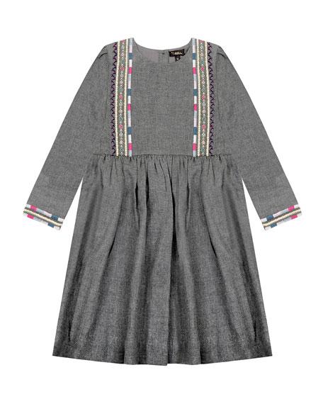 Velveteen Girl's Claudia Embroidered 3/4-Sleeve Dress, Size 4-6