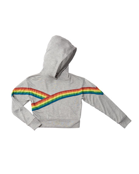 Flowers By Zoe Girl's Rainbow Taping Trim Hoodie, Size S-XL