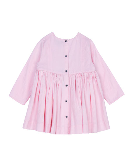 Velveteen Camille Embroidered Shirred Dress, Size 3-24 Months