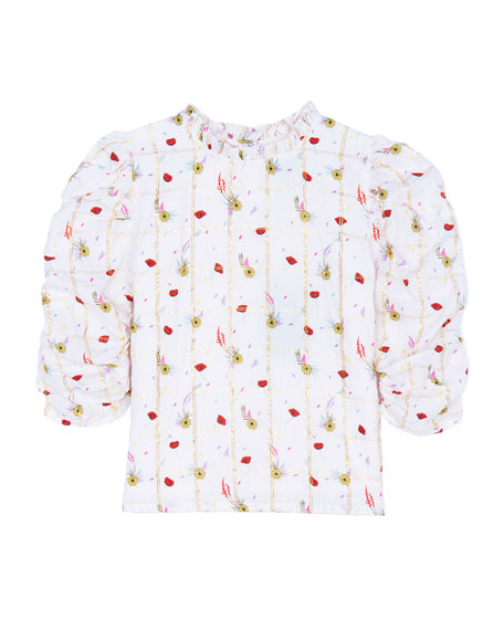 Velveteen Dionne Floral Ruched-Sleeve Button-Back Top, Size 4-6
