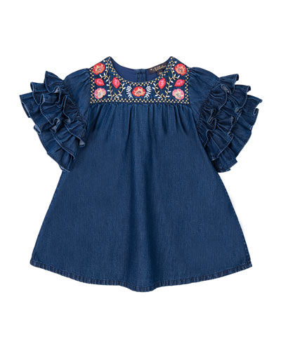Girl's Regina Frill Sleeve Dress  Size 12-24 Months