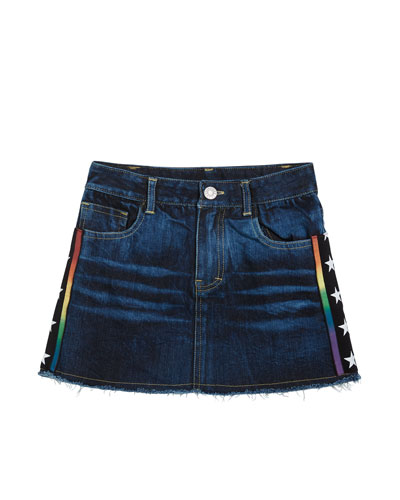 Girl's Raw Edge Denim Skirt w/ Star Taping, Size S-XL