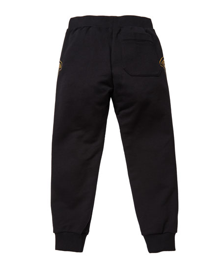 Versace Boy's Sweatpants w/ Check Medusa Sides, Size 4-6